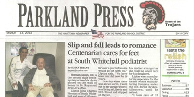Allentown Family Foot Care - Parkland Press - Slip and Fall Leads to Romance